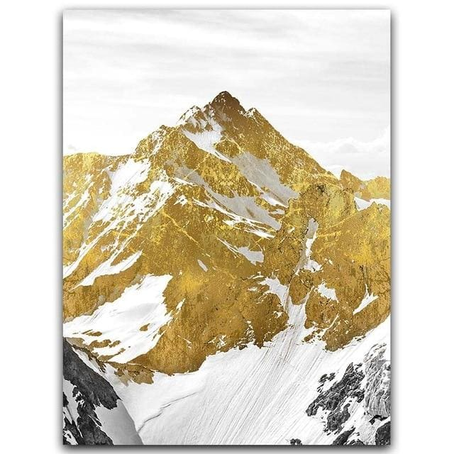 Golden Mountain Wall Art - A4 21x30cm No Frame / Middle - Wall Poster