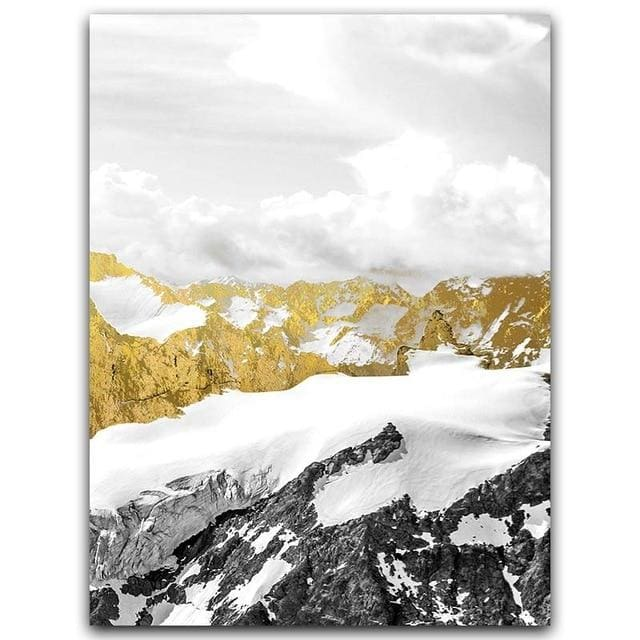 Golden Mountain Wall Art - A4 21x30cm No Frame / Right - Wall Poster