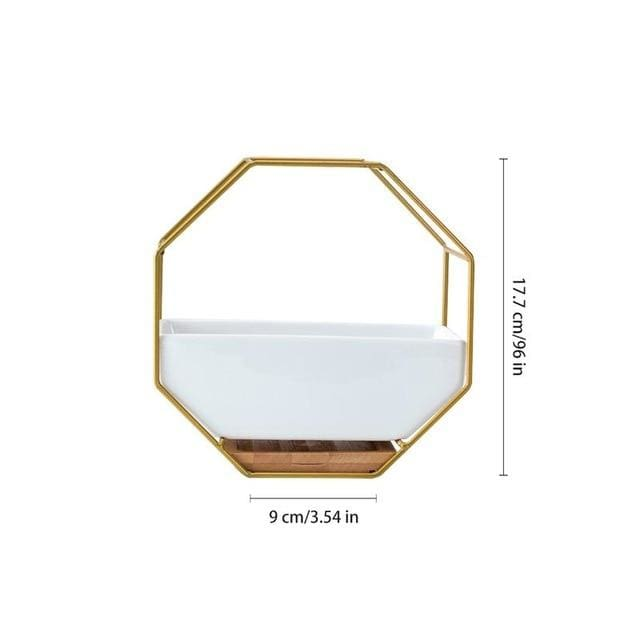 Hexagon Wall Planter - Gold - wall planter