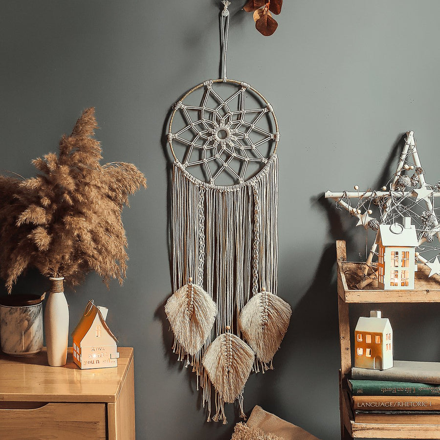 Macrame Floral Dreamcatcher with Tassels