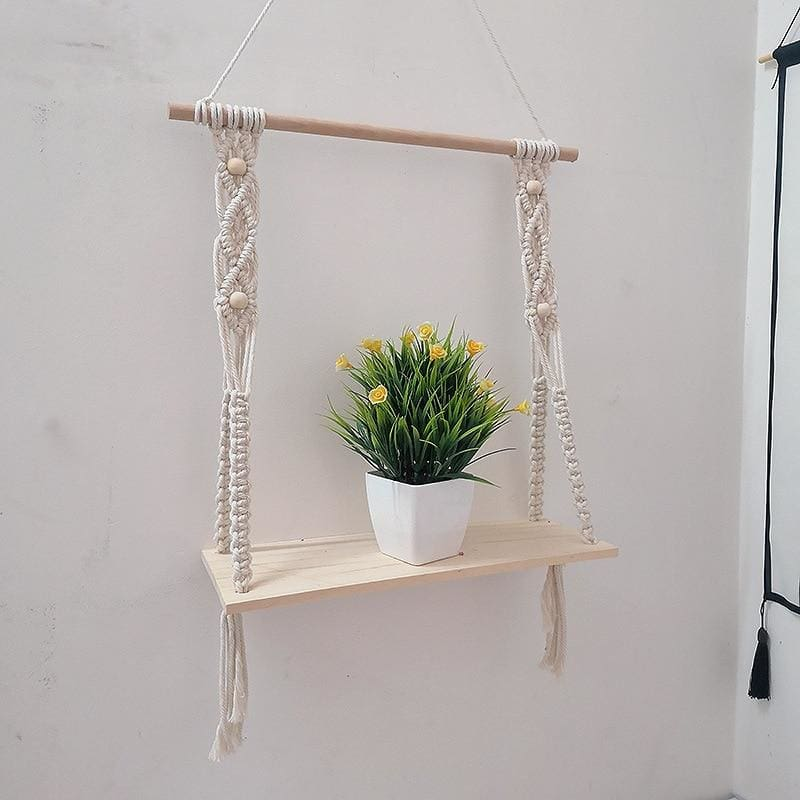 Macrame hanging wall shelf - Macrame wall