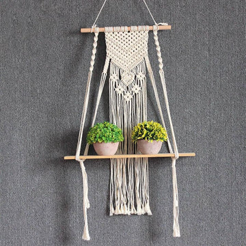 Macrame hanging wall shelf - WHITE / 90 X 35cm - MACRAME WALL HANGING SHELF
