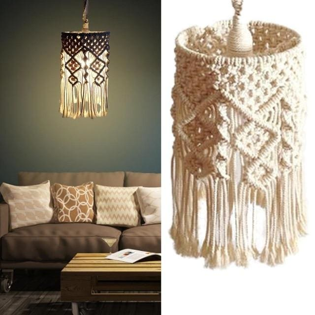 Macrame Lampshade - Olive Brown - lampshade