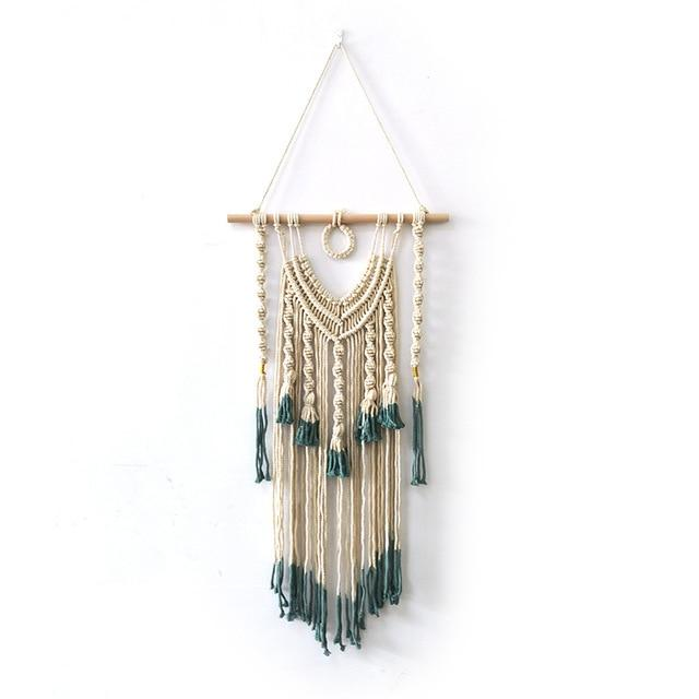 Macrame Wall Hanging Tapestry with Green Endings
