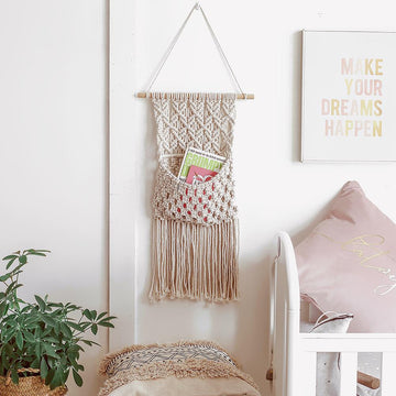 macrame wall pocket hanger