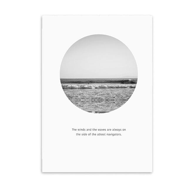 Minimalist Printed Wall Art - 20X25CM No Frame / Round Beach - Wall Poster