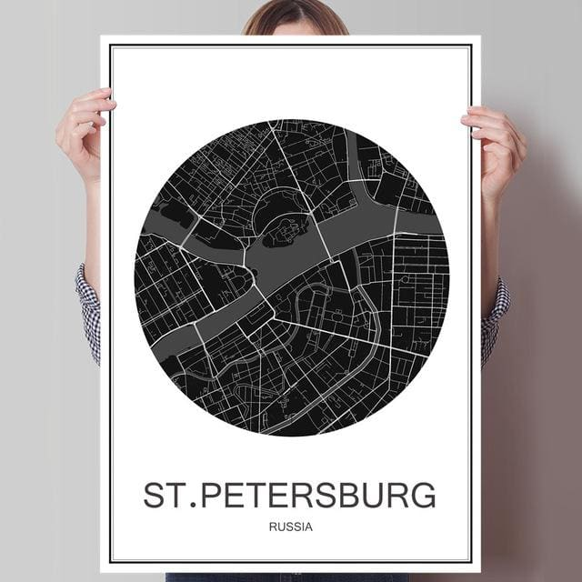 Modern World City Poster - ST PETERSBURG / 42x30cm paper print - Wall Poster