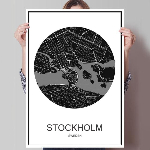 Modern World City Poster - STOCKHOLM 1 / 42x30cm paper print - Wall Poster
