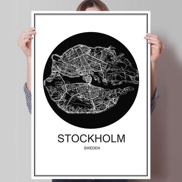 Modern World City Poster - STOCKHOLM / 42x30cm paper print - Wall Poster