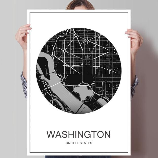 Modern World City Poster - WASHINGTON / 42x30cm paper print - Wall Poster