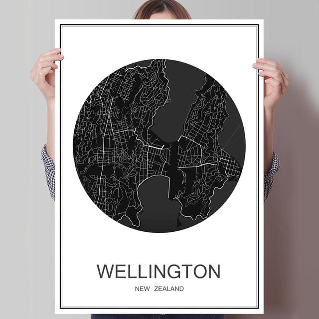 Modern World City Poster - WELLINGTON / 42x30cm paper print - Wall Poster