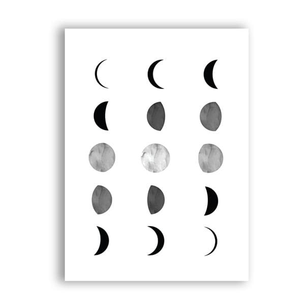 Moon Phases Poster - A5 15x21 cm No Frame / 3 columns variant - Wall Poster