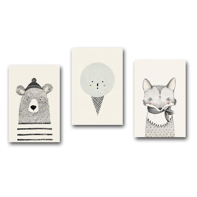 Nordic Animal Wall Posters - A4 21x30cm No Frame / 3 pcs Set - Wall Poster