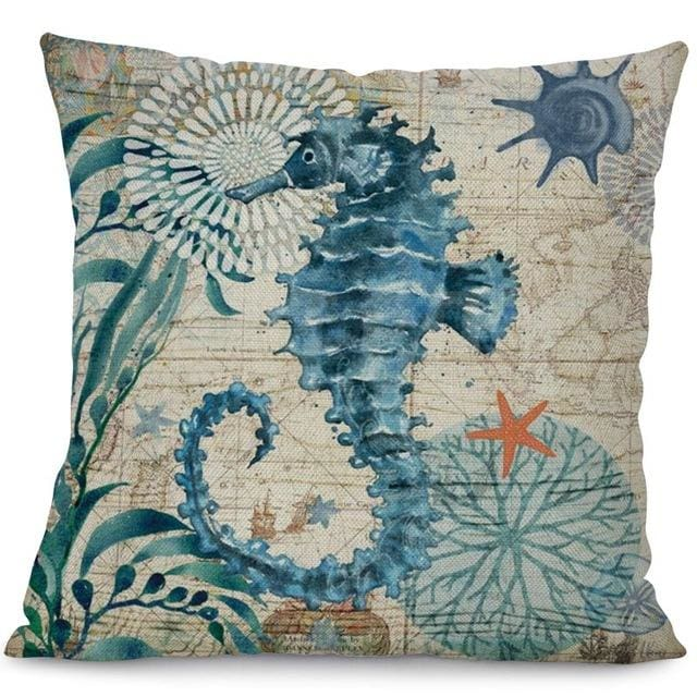 Ocean Creatures Pillowcase - 44x44cm / Seahorse - pillow case