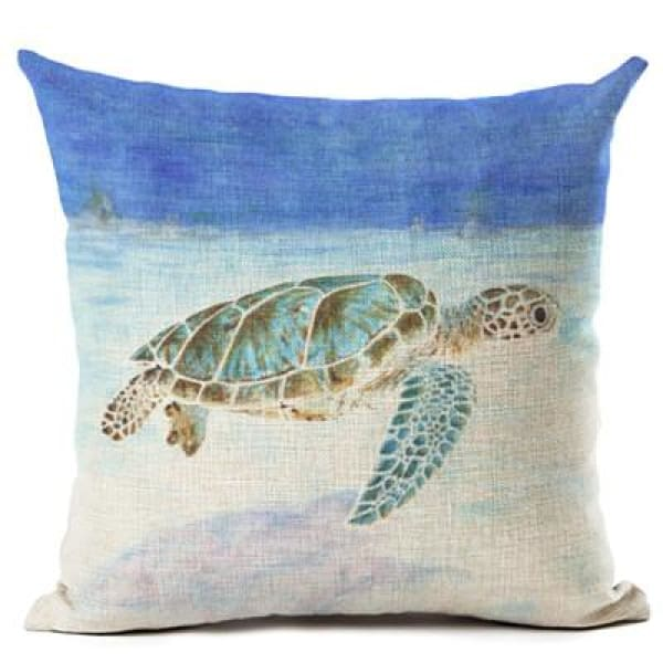 Painted Turtle Pillow Case - 450mm*450mm / Blue Top - pillow case