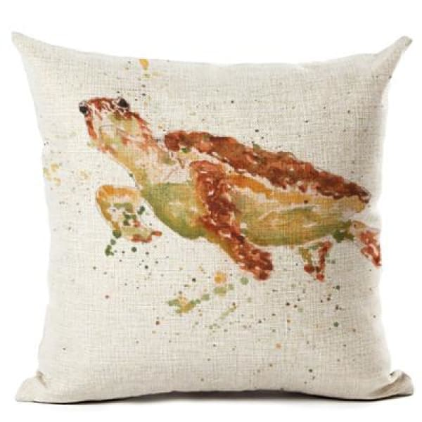 Painted Turtle Pillow Case - 450mm*450mm / Brownx - pillow case
