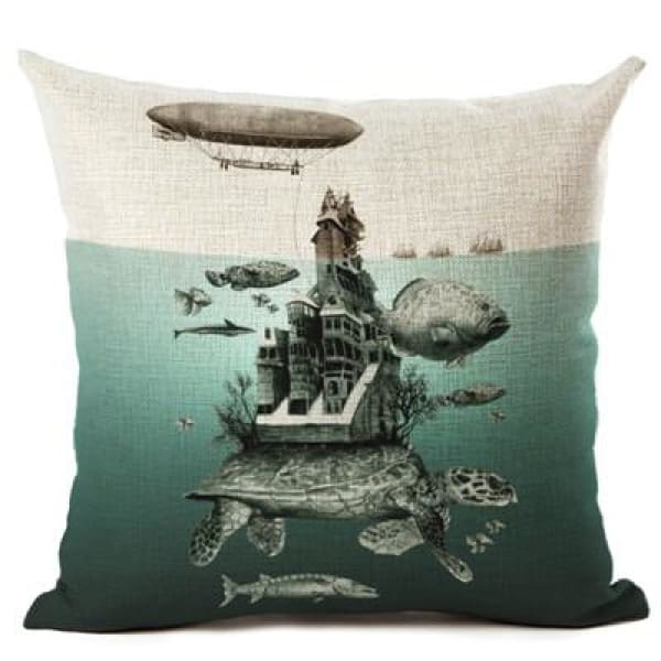 Painted Turtle Pillow Case - 450mm*450mm / Castle - pillow case