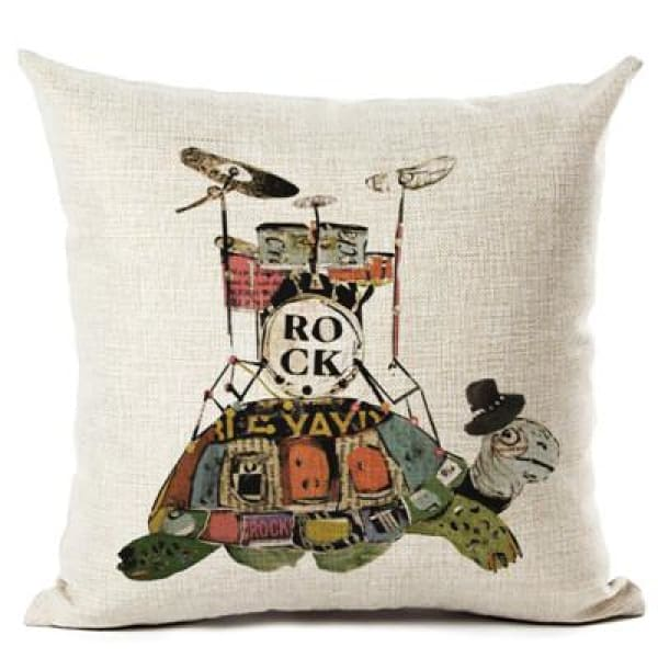 Painted Turtle Pillow Case - 450mm*450mm / Drums - pillow case