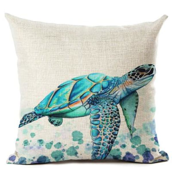 Painted Turtle Pillow Case - 450mm*450mm / Green - pillow case