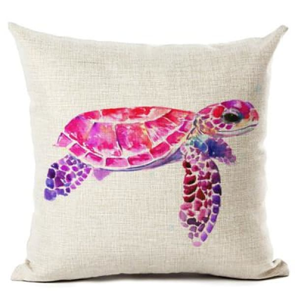 Painted Turtle Pillow Case - 450mm*450mm / Pink Back - pillow case