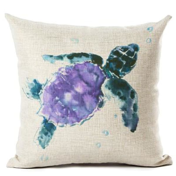 Painted Turtle Pillow Case - 450mm*450mm / Purple Back - pillow case