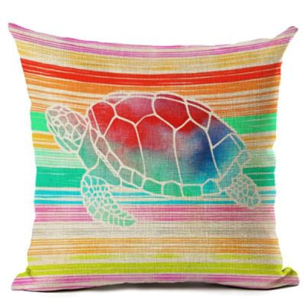 Painted Turtle Pillow Case - 450mm*450mm / Rainbow - pillow case