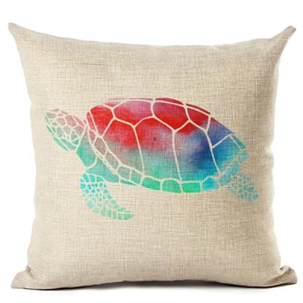 Painted Turtle Pillow Case - 450mm*450mm / Red Back - pillow case