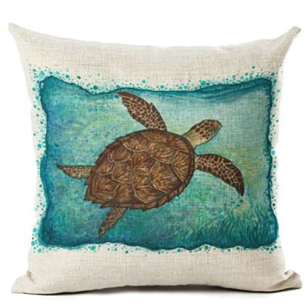 Painted Turtle Pillow Case - 450mm*450mm / Sea Swim - pillow case