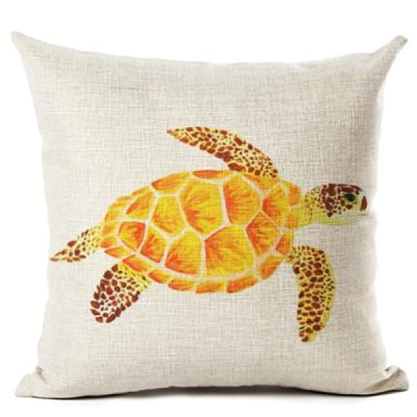 Painted Turtle Pillow Case - 450mm*450mm / Yellowy - pillow case