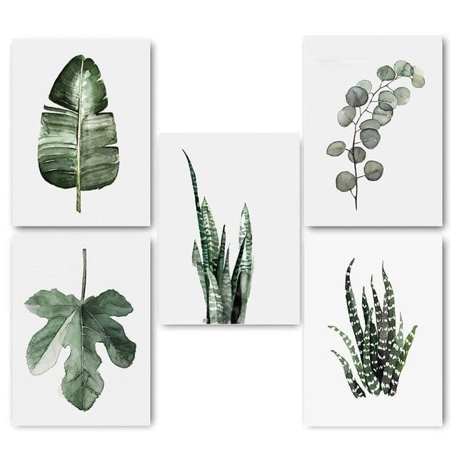Plant Leaves Poster Print - 15x20cm No Frame / 5 pcs Set - Wall Poster