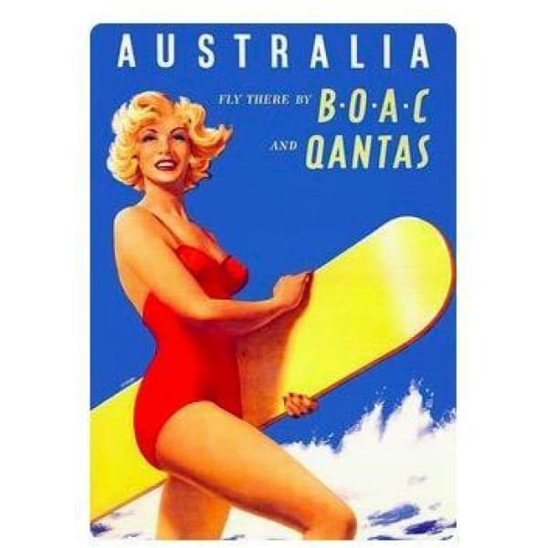 Retro Australia Posters - Surf Girl - Wall Poster