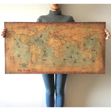 Retro Ocean Map Poster - world map