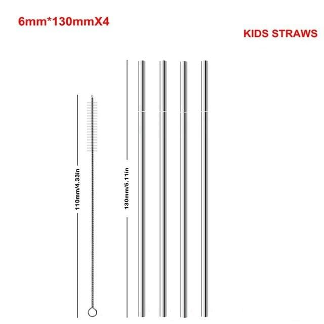 Reusable Metal Straws - KIDS STRAWS-1Brush - straws