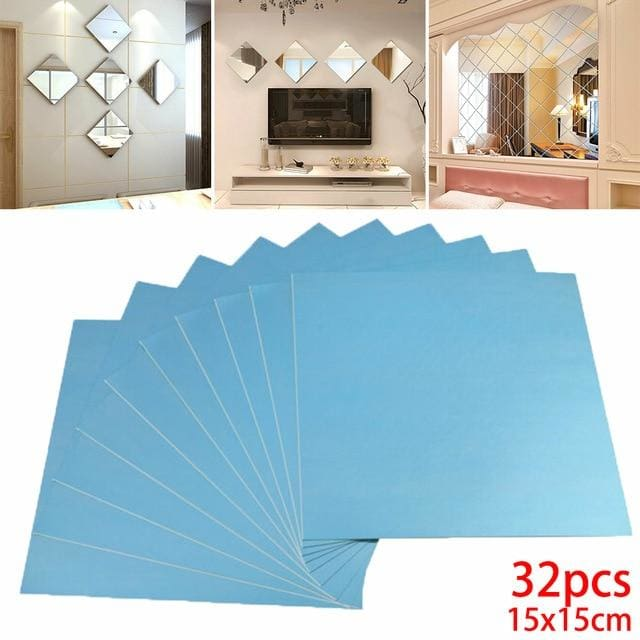 Silver Square Mirror Wall Stickers - 32pcs