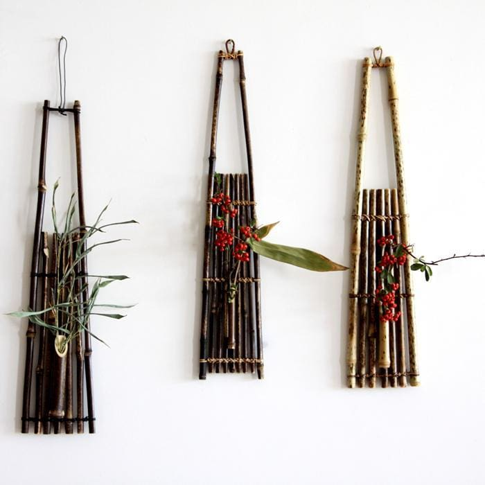 Vertical bamboo floral basket - flower pot