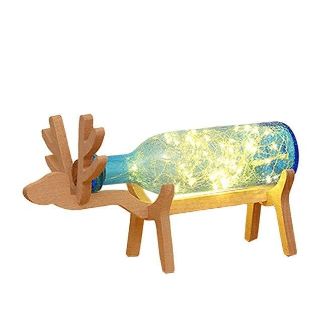 Wooden Deer Bottle Lamp - Blue - lamp