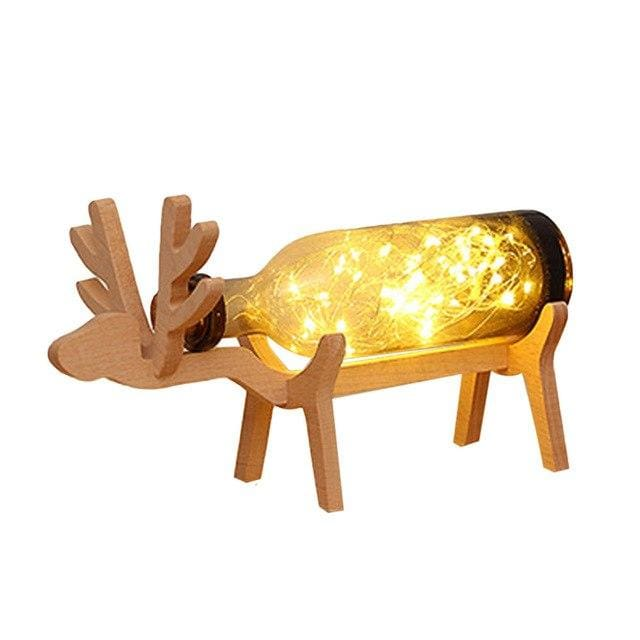 Wooden Deer Bottle Lamp - Brown - lamp
