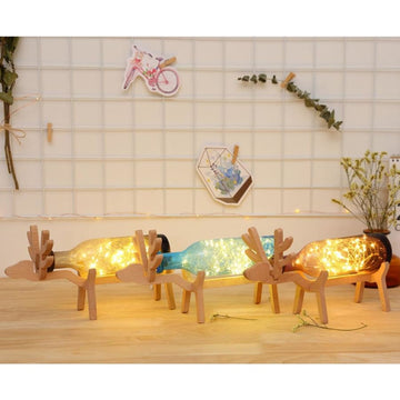 Wooden Deer Bottle Lamp - lamp