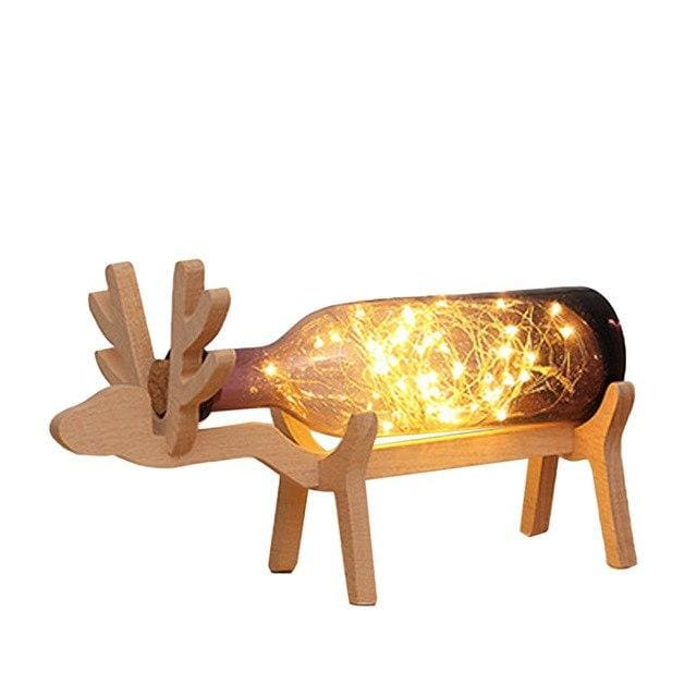 Wooden Deer Bottle Lamp - Purple - lamp