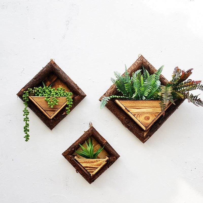 Wooden Wall Flower Pot - flower pot