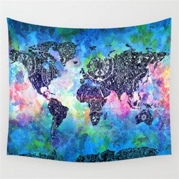 World Map Cosmos Tapestries - B / 148x148cm