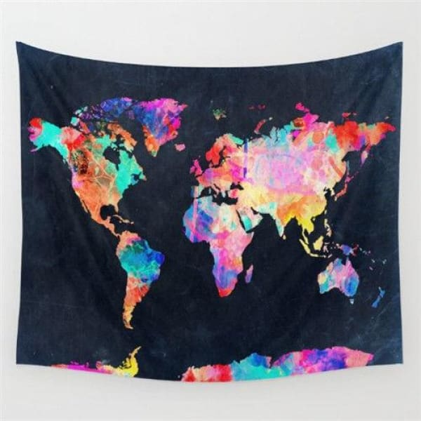 World Map Cosmos Tapestries - C / 148x148cm