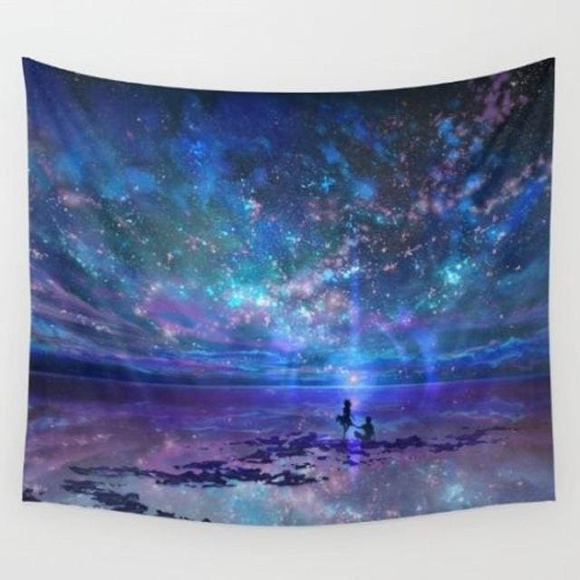 World Map Cosmos Tapestries - F / 148x148cm