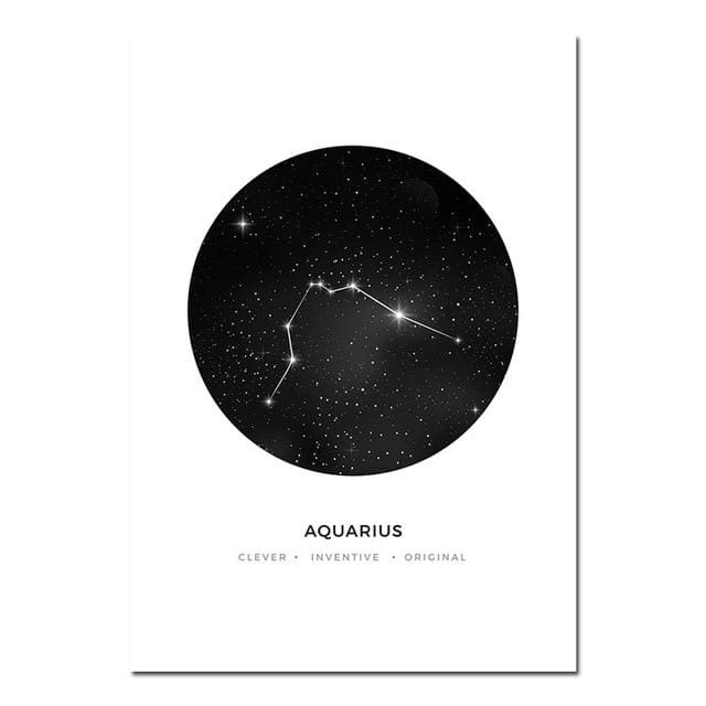 Zodiac Constellation Prints - A4 21x30cm Unframed / Aquarius - poster