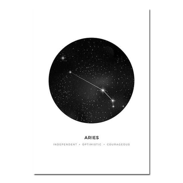 Zodiac Constellation Prints - A4 21x30cm Unframed / Aries - poster