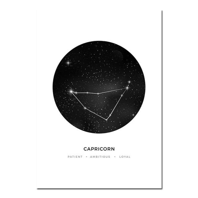 Zodiac Constellation Prints - A4 21x30cm Unframed / Capricorn - poster