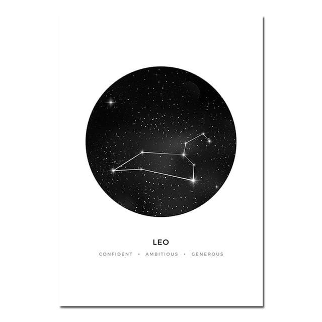 Zodiac Constellation Prints - A4 21x30cm Unframed / Leo - poster