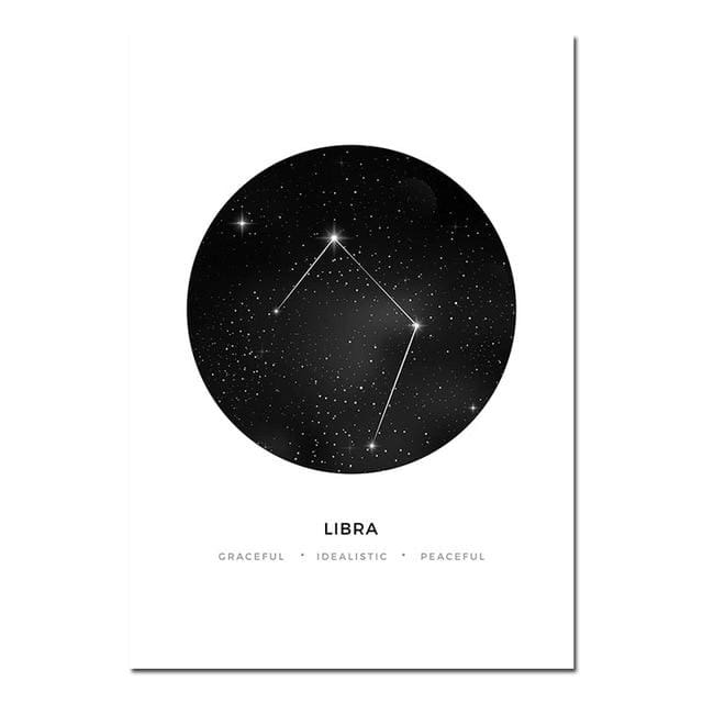 Zodiac Constellation Prints - A4 21x30cm Unframed / Libra - poster