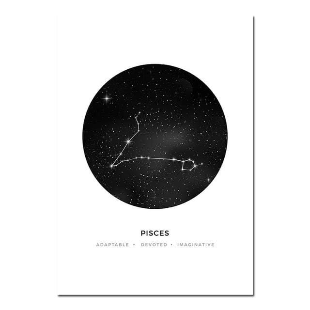 Zodiac Constellation Prints - A4 21x30cm Unframed / Pisces - poster