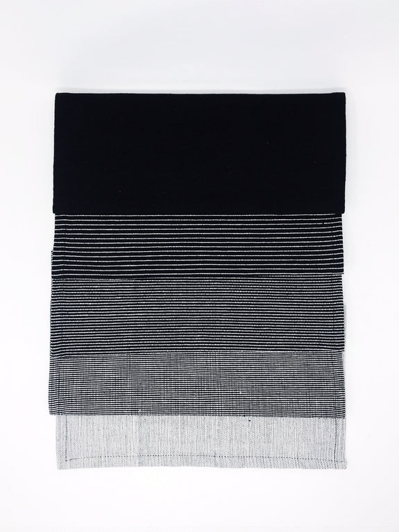 Hand loomed cotton gradient black table runner